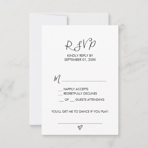 Hand Drawn Heart Song Request RSVP Card