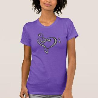 Hand Drawn Heart Treble/Bass Clef Design T-shirt
