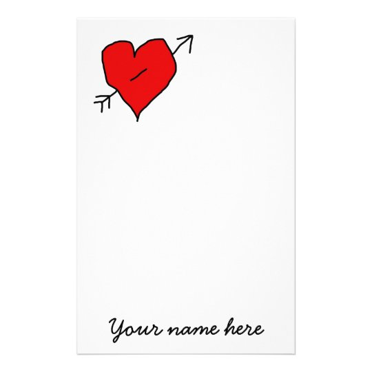 Hand drawn heart with Cupid's arrow Stationery