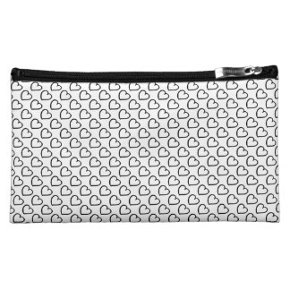 Hand drawn hearts pattern black on white cosmetic bag
