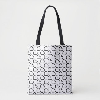 Hand drawn hearts pattern black on white tote bag