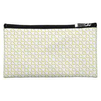 Hand drawn hearts pattern green on white cosmetic bag