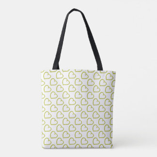 Hand drawn hearts pattern green on white tote bag