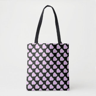 Hand drawn hearts pattern pink on black tote bag