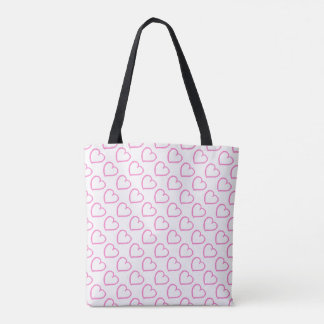 Hand drawn hearts pattern pink on white tote bag