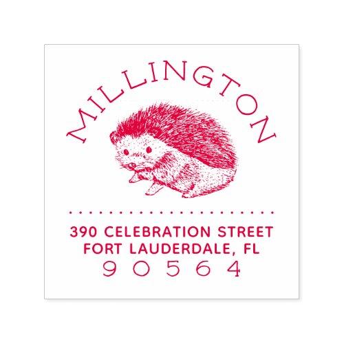 Hand_drawn Hedgehog Family Name Return Address Self_inking Stamp