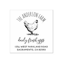 Hand-drawn Hen Family Farm Business Return Address Rubber Stamp