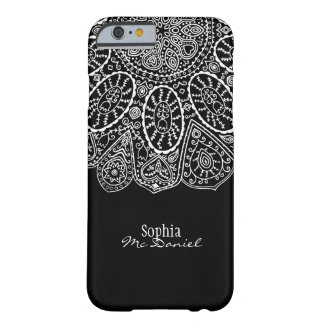 Hand Drawn Henna Circle Design Black and White Barely There iPhone 6 Case