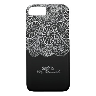 Hand Drawn Henna Circle Design Black and White iPhone 7 Case