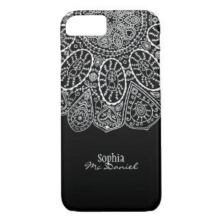 Hand Drawn Henna Circle Design Black and White iPhone 8/7 Case