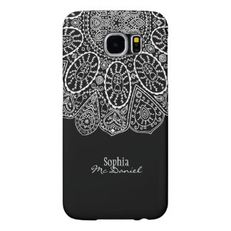 Hand Drawn Henna Circle Design Black and White Samsung Galaxy S6 Cases