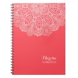 Hand Drawn Henna Circle Design Bright Coral Pink Notebook