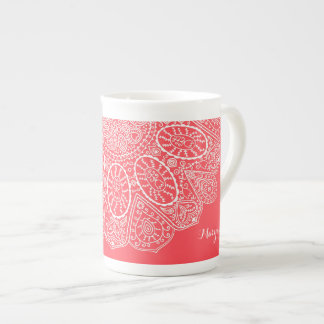 Hand Drawn Henna Circle Design Bright Coral Pink Tea Cup