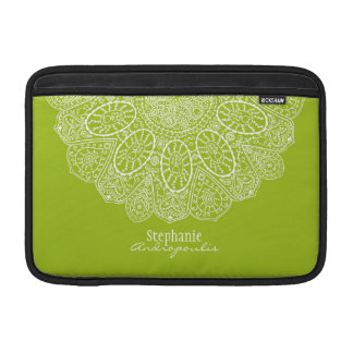Hand Drawn Henna Circle Design Bright Lime Green MacBook Air Sleeve
