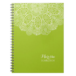 Hand Drawn Henna Circle Design Bright Lime Green Spiral Notebook