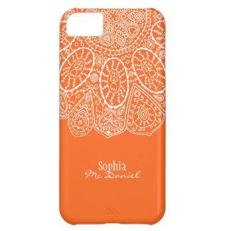 Hand Drawn Henna Circle Design Bright Orange Cover For iPhone 5C