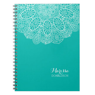 Hand Drawn Henna Circle Design Bright Pool Blue Notebook