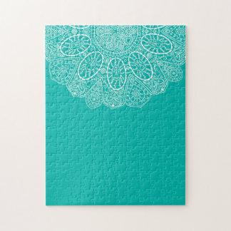 Hand Drawn Henna Circle Design Bright Pool Blue Puzzle