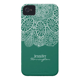 Hand Drawn Henna Circle Design Forest Green Case-Mate iPhone 4 Case