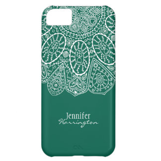 Hand Drawn Henna Circle Design Forest Green iPhone 5C Cover