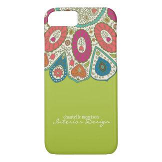 Hand Drawn Henna Circle Pattern Design Bright iPhone 7 Case