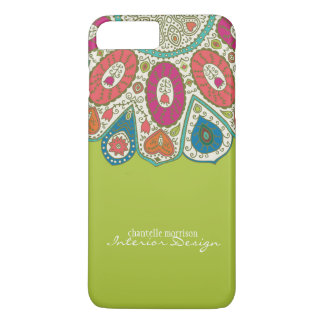 Hand Drawn Henna Circle Pattern Design Bright iPhone 7 Plus Case
