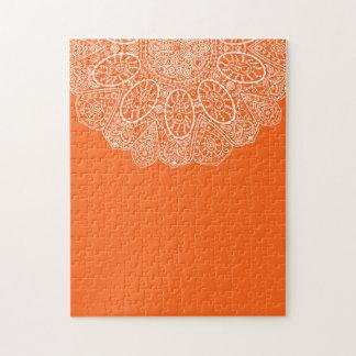 Hand Drawn Henna Lace Design Bright Citrus Orange Jigsaw Puzzle