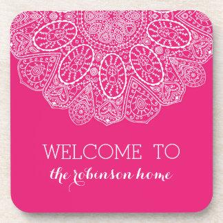 Hand Drawn Henna Lace Design Bright Fuchsia Pink Coaster