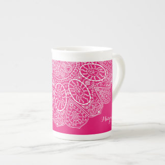 Hand Drawn Henna Lace Design Bright Fuchsia Pink Tea Cup