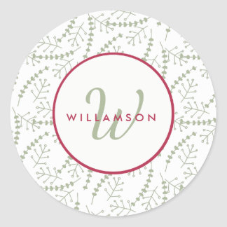 Hand-drawn Holiday Branches Red and Sage Monogram Classic Round Sticker