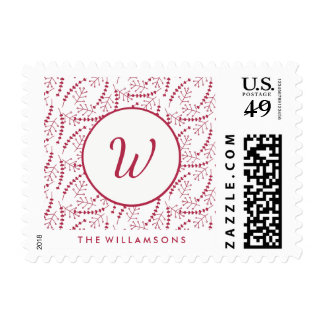 Hand-drawn Holiday Branches Red Monogram Stamp
