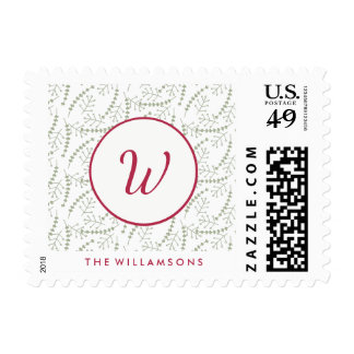 Hand-drawn Holiday Branches Sage and Red Monogram Postage Stamp