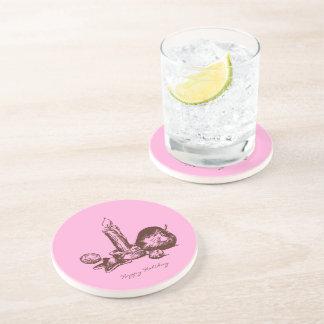 Hand Drawn Holiday Element Sandstone Drink Coaster