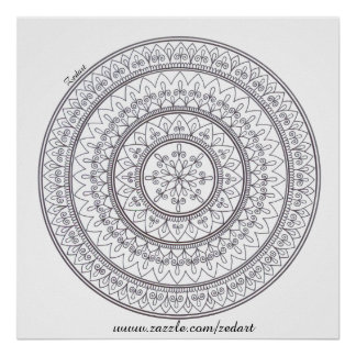 Hand Drawn Intricate Mandala Art For Colouring In Poster