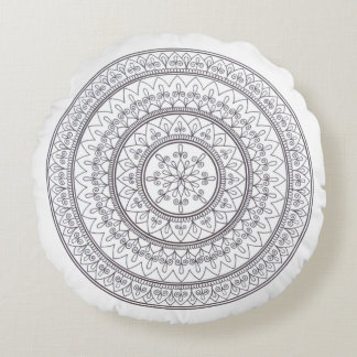 Hand Drawn Intricate Mandala Art For Colouring In Round Pillow