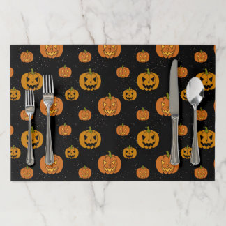 Hand Drawn Jack O Lanterns Against Starry Night Paper Placemat