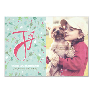 Hand Drawn Joy Holiday Photo Card Personalized Announcement