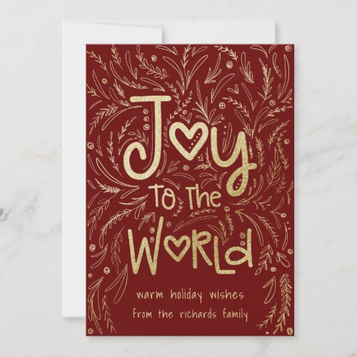 Hand Drawn Joy to the World in Red Christmas Holiday Card