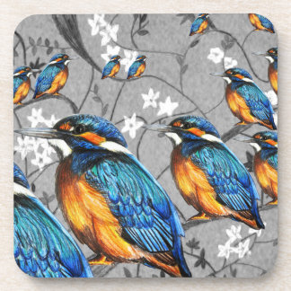 Hand drawn kingfisher coaster