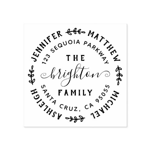 Hand Drawn Leaves  Family Names  Return Address Rubber Stamp