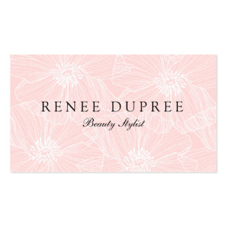 Hand Drawn Light Pink Floral Cosmetology Beauty Business Card Templates