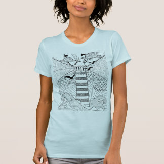 Hand Drawn Lighthouse Doodle T Shirt