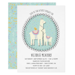 Hand drawn Llama Baby Shower Invitation