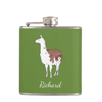 Hand Drawn Llama U-Pick Background Color Hip Flask
