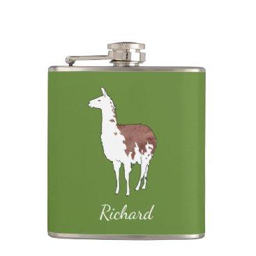 PandaCatGallery Hand Drawn Llama U-Pick Background Color Hip Flask