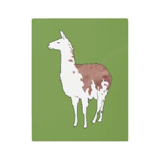 Hand Drawn Llama U-Pick Background Color Metal Photo Print