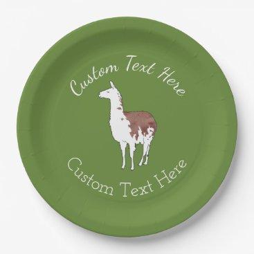 PandaCatGallery Hand Drawn Llama U-Pick Background Color Paper Plate