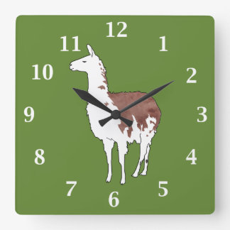 Hand Drawn Llama U-Pick Background Color Square Wall Clock