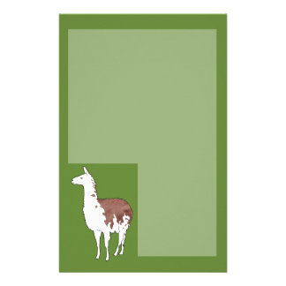 Hand Drawn Llama U-Pick Background Color Stationery