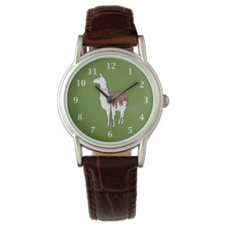 Hand Drawn Llama U-Pick Background Color Wrist Watch